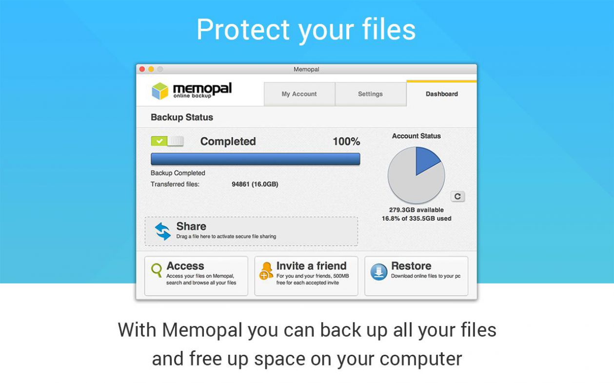 Memopal Online Backup Screen shot